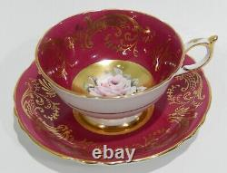 Rare PARAGON FLOATING PINK ROSE on GOLD CUP & SAUCER Hand Painted c1952-60