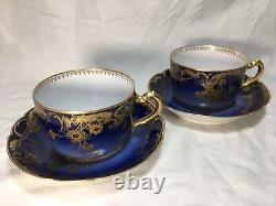 Rare Pair Haviland & Co Limoges H3093 Cobalt & Gold CUP & SAUCERS on Blank 9