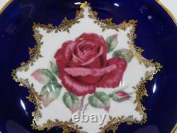 Rare Paragon Johnson FLOATING RED ROSE CUP & SAUCER COBALT & GOLD Filigree MINT