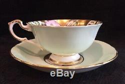 Rare Paragon Pastel Mint Green & Heavy Gold Hibiscus Cup & Saucer A1703
