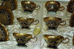 Rare Rosenthal Antique Cobalt Blue & Encrusted Gold Boxed Set Of Cups & Saucers