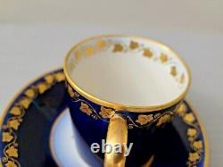 Rare SEVRES Cobalt Blue Gold Cup Saucer Set
