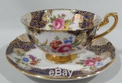 Rare SHELLEY AUBUSSON Floral CUP & SAUCER BOSTON Shape GOLD HANDLE & BASE Mint