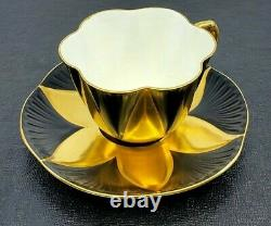 Rare Shelley China Dainty BLACK & GOLD Star Flower Harlequin Cup & Saucer