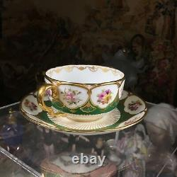 Rare & Stunning Cauldon two handled Bouillon cup & saucer with Floral & Gold