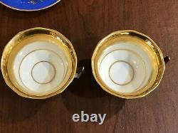 Rare antique Old Paris Tea pot Teapot Set Floral blue gold France Porcelain