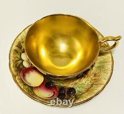 Reserved B Aynsley Gold Tea Cup Saucer Bone China Orchard Fruit Signed 2 Sets