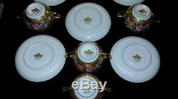 Rosenthal 2 handled soup cup and saucers 5 sets withgold bands Ovington Bros Co