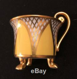 Rosenthal Demitasse set of 2 heavy gilded cups saucers yellow and blue with gold