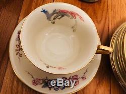 Rosenthal PHOENIX SET Gold Trim Flat Cup & Saucer SET of 8 Lot of 8