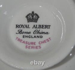 Royal Albert OLD ENGLISH ROSE Cup & Saucer TREASURE CHEST Series Heavy Gold Gild