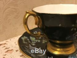 Royal Albert Oriental Tea Cup Saucer Chinoiserie Pagoda Horses Black Gold Trim