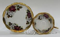 Royal Albert RED and WHITE ROSE Cup & Saucer TREASURE CHEST Series Heavy Gold
