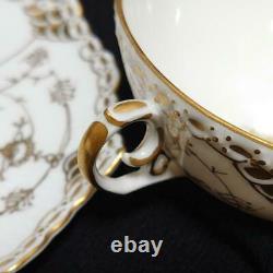 Royal Copenhagen Gold Fluted Full Lace Cup & Saucer DENMARK 1992-1999 Vintage