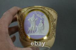 Royal Copenhagen Neoclassical Scene Dog Peach Gold Large Cup & Saucer C1870-1890