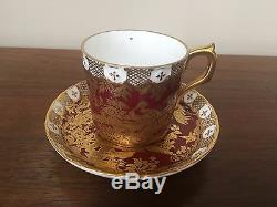 Royal Crown Derby PARADISE MAROON Flat Demitasse Cup & Saucer Set