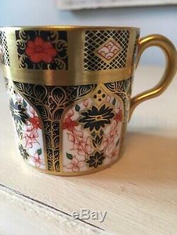 Royal Crown Derby Solid Gold Band Old Imari 6 Coffee Cups & Saucers With Case
