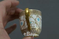 Royal Crown Derby Tiffany & Co Aqua Enamel Floral & Gold Demitasse Cup & Saucer