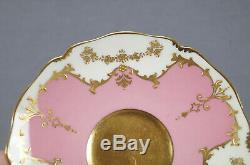Royal Doulton Gilman Collamore Raised Gold & Pompadour Pink Tea Cup & Saucer B