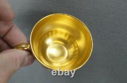 Royal Doulton Raised Gold Pompadour Pink & Gold Interior Demitasse Cup & Saucer