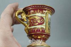 Royal Vienna Style Hand Painted Artemis Red & Beaded Gold Chocolate Cup & Saucer