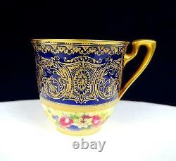 Royal Worcester 1167 Artist Signed Gold Cobalt Blue Demitasse Cup & Saucer 1929