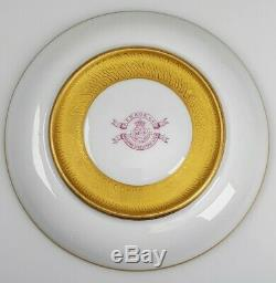 Royal Worcester 1904 Hand Painted Pink & Heavy Gold Porcelain Tea Cup Saucer
