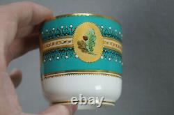 Royal Worcester Butterflies Turquoise Gold & Enamel Jeweled Coffee Cup & Saucer