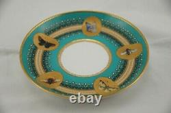Royal Worcester Butterflies Turquoise Gold Enamel Jeweled Coffee Cup Saucer