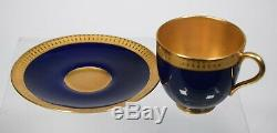 Royal Worcester Demitasse Cup & Saucer, Cobalt Blue with Gold Gilt Interior