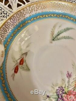 Royal Worcester Raised Gold Turquoise Flower HP Tea Cup Saucer