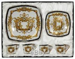 Royalty Porcelain 16-pc Luxury White, Greek Key Dinner Set, 24K Gold Medusa