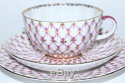 Russian Imperial Lomonosov Porcelain 3 set Cup, Saucer, Plate Net Blues 22K Gold