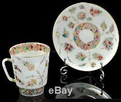 Russian Imperial Lomonosov Porcelain Bone Tea cup & saucer Golden branches Gold
