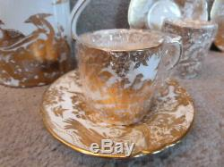 SET Royal Crown Derby China Gold Aves SIX Demitasse Cups Saucers & Coffee Pot