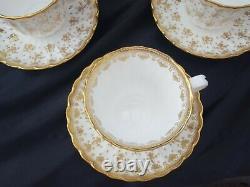 SPODE FLEUR DE LYS GOLD Y8063 TRIOS OF TEA CUPS, SAUCERS & SIDE PLATES x 6
