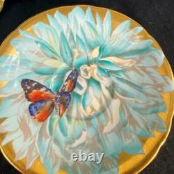 STUNNING Aynsley CHRYSANTHEMUM BUTTERFLY Heavy Gold Cup Saucer C974/1