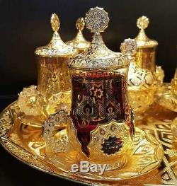 Seljuk tea Set Gold Quality Tea Serving Set Arabic Coated Handmade