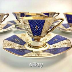 Seltmann Weiden Bavaria Heavy Gilded Antique Demitasse Cups (6) Early 1900s