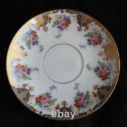 Set 10 Antique D&C Bernardaud & Co Limoges France CUPS & SAUCERS flowers gold
