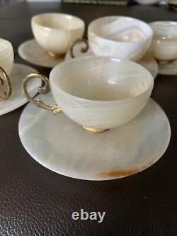 Set 12 Vintage Champagne Gold Beige Marble Demitasse Cup Saucer Gold Leaf Handle