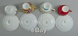 Set of 4 Aynsley China Cup & Saucer Sets Hand Painted Floral, Orchard Gold Jones