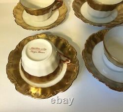Set of 6 Straus & Sons Limoges Gold Rim/Band Cups & Saucers
