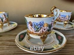 Set of eight vintage R. Capodimonte cups & saucers. Gold interior