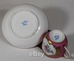 Sevres 18th Century Cup & Saucer Pink Hand Painted Floral Design withGold Gilt