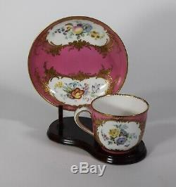 Sevres 18th Century Cup & Saucer Pink Hand Painted Floral Design with Gold Gilt