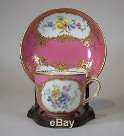 Sevres 18th Century Tea Cup & Saucer Hand Painted Floral Designs & Gold Gilt