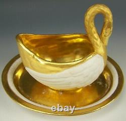 Sevres France Swan Coffee Tea Cup Saucer Biscuit Bisque Porcelain