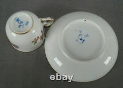 Sevres Hand Painted Ambrose Michel Floral & Gold Demitasse Cup & Saucer C1773 A