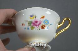 Shelley 17499 Pink Rose Floral Cobalt & Gold Bone China Tea Cup & Saucer